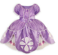 Wholesale Dress Ball Grown - Wholesale-children toddler princess sofia the first girl flower ball grown dresses kids dress fairy tail cosplay frozen fantasia costume 5p