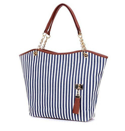 Wholesale Snap Tassels - Women's Handbags Stripe Street Snap Candid Tote Canvas Tassel Chain Shoulder Striped Hand Bag 14 TB30