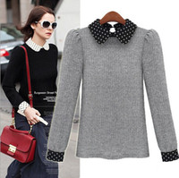 2014 Europe Fashion New Women Circle Dot Peter Pan collar Bubble Sleeve  Splice Pullover sweater christmas sweaters