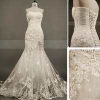 Wholesale Mermaid Sweet Heart - New Collection Mermaid Lace Bride Gowns Sweet-heart Pleat Appliques Beads Organza Evening Bride Wedding Dress Back Lace Up Custom Made 2015
