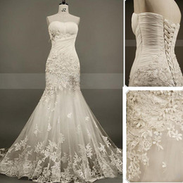 Wholesale Red Heart Wedding Dresses - New Collection Mermaid Lace Bride Gowns Sweet-heart Pleat Appliques Beads Organza Evening Bride Wedding Dress Back Lace Up Custom Made 2015