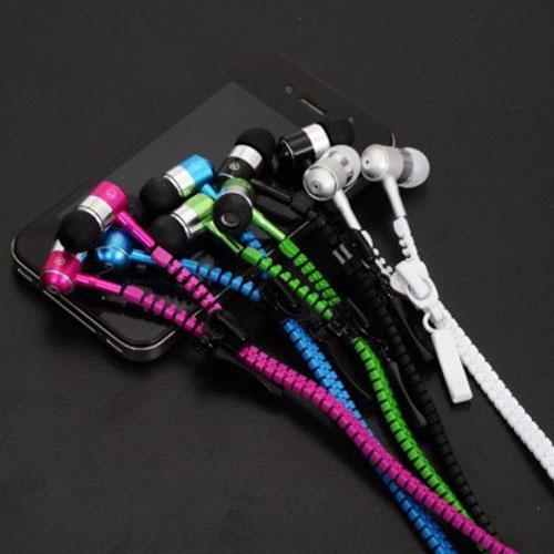 Nuovo design Stereo da 3,5 mm Jack Bass Auricolari auricolari auricolari in metallo orecchio con microfono e volume auricolari Zip Zipper iPhone Samsung MP3