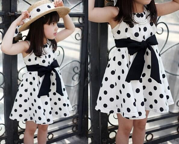 New 2015 baby girls dresses Chiffon Casual cute cheap dot Sleeveless bow dresses girls kids clothing fashion hot selling clothes 14AUG501