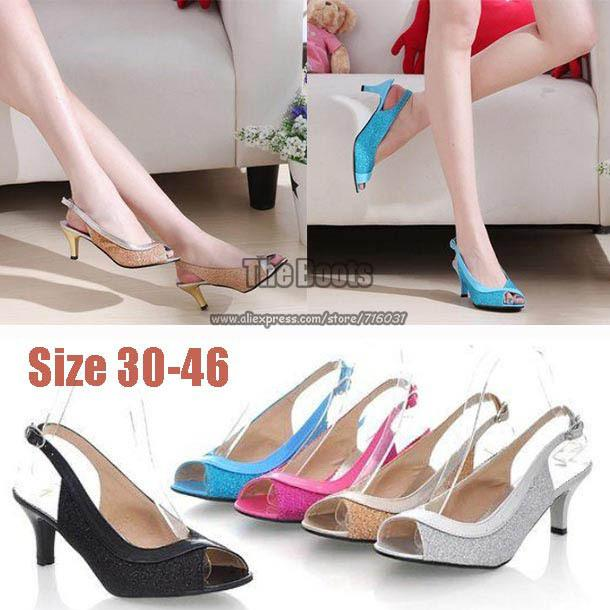 2 Inch Black Hot Pink Blue Silver Gold Peep Toe Prom Pumps High ...