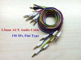 Плоская лапша 3.5 мм до 3.5 мм аудио кабель красочные мужской стерео AUX расширенный аудио вспомогательный шнур для iPhone Samsung MP3 MP4 дешевые от