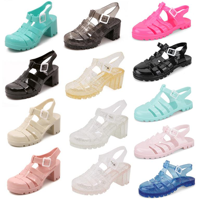 b8b2499526398 High Fashion Designer Brands New 2014 Plastic Shoes Cover Toe Chunky High  Heel Glitter Ladies Jelly Gladiator Sandals For Women Silver Wedges Brown  Wedges ...