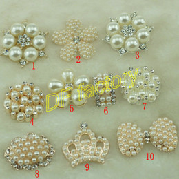 Wholesale Flat Backed Pearls - flat back 20pcs lot light gold alloy metal pearl rhinestone button for Hair Flower center Wedding Invitation Scrapbooking accessories