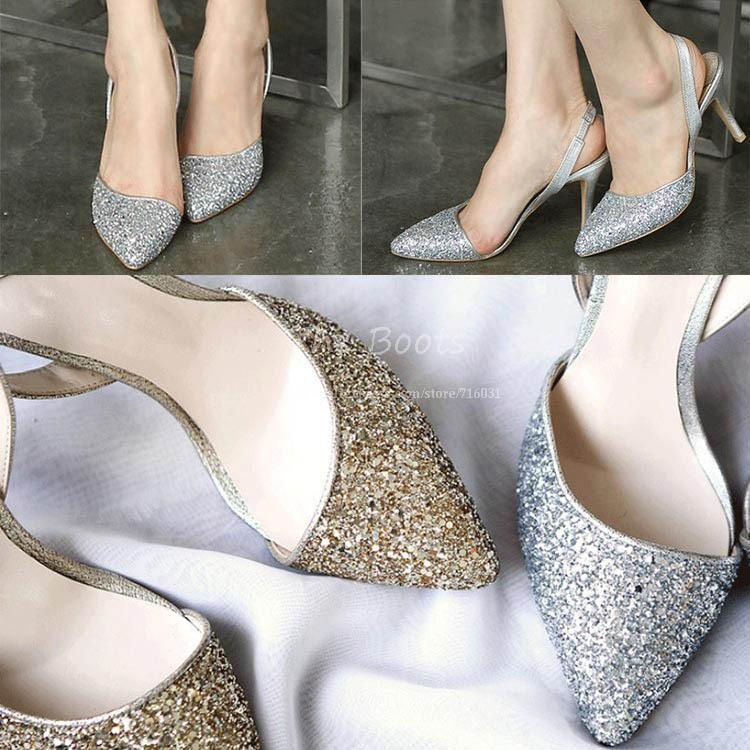 Gold Silver Glitter Closed Pointed Toes Pump Slingbacks Women 3 ...