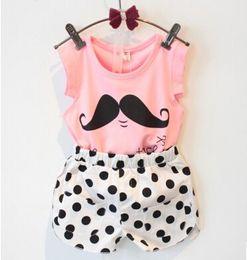 Wholesale Sleeveless Hoodie T - Wholesale - Summer discount clothing set models cute sleeveless t-shirt + mustache Polka Dot shorts suit children hoodies,14JUN198