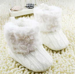 Wholesale Toddlers White Fur Shoes - Autumn Winter Baby Snow Boots Fur Knitted Wool Thicken Warm Toddler Boy Girl First Walker Shoes Infant Boots Newborn Shoes 0-24M WD44