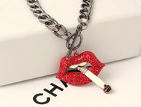 Wholesale Gold Plated Red Lip Necklace - European Statement Pendant Necklaces Sexy Red Lip Smoking Cigarette Necklaces Collarbone Necklace Exaggerated New Fashion