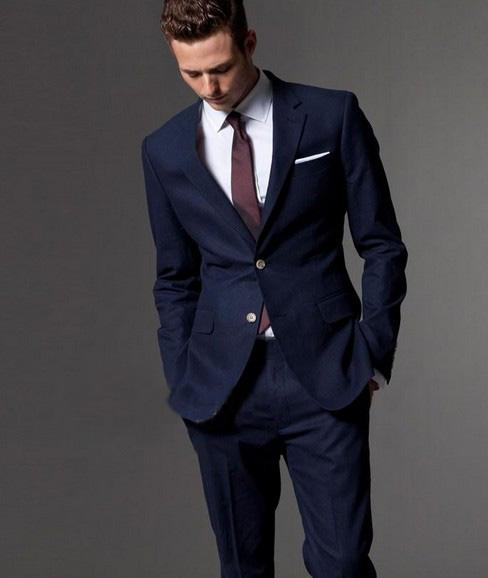 2016 Custom Men'S Suit, The Dark Blue Dress Tailored Man, Slender