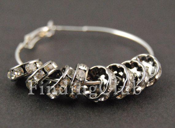 ¡Calidad superior! Gunmetal Con Crystal Clear Rondelle Rhinestone Beads Brass Spacer Wholesale Findings Suministros de Joyería en 8mm