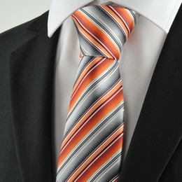 Wholesale Grey Woven Tie - HOT SALE Neck Ties New Striped Orange Grey Mens Tie Suit Necktie Party Wedding Holiday Gift KT1068