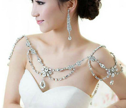 Wholesale Shoulder Necklaces - Vintage New Fashion Wedding Bridal Bridesmaid Crystal Rhinestone Shoulder Long Full Body Chain Silver Necklace Jewelry Set Accessories Favor