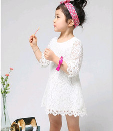 Wholesale Half Full Sleeve Dresses - spring and fall children princess dress girls half sleeve full lace party dress kids Boutique clothing white red pink 4-8T