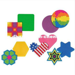 Wholesale Beads Pegboards - Colorful Shape Puzzle Pegboards Patterns 5mm Hama Beads Perler Beads DIY Kids Craft Plastic Stencil 1set=5pcs PD0005