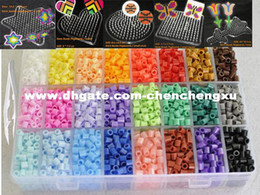 Wholesale 5mm Craft Beads - Perler Beads Fuse Beads Hama Beads 5mm Set 24 Color 5500pcs+5 Template+10 Iron Paper+2 Tweezers Diy Kids Craft Lowest Price PD0009
