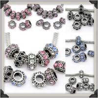 cuentas espaciadoras mixtas europeas al por mayor-Colores mezclados Crystal Rhinestone Big Hole Rondelle Spacer Loose Charm Beads Fit European Jewelry Jewelry Supplies