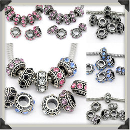 Colores mezclados Crystal Rhinestone Big Hole Rondelle Spacer Loose Charm Beads Fit European Jewelry Jewelry Supplies