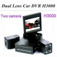 Wholesale Dual Ir Camera Car Dvr - Dual Lens Car DVR H3000 2 Inch TFT 8 LED IR Night Vision Support Russian Car Camera Black Box Car Video Recorder