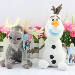Wholesale Cheap Wholesale Stuffed Toys - 5sets Olaf and Sven Plush Doll Olaf 25cm Sven 21cm snowman Milu deer Kristoff friend Sven Plush toy stuffed doll for kids Cheap 39382118484