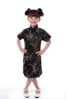tecido para vestidos de meninas venda por atacado-Xangai história faux tecidos de seda 1-7 anos crianças chinês tradicional bebê roupas dragão phoenix tang terno cheongsam estilo meninas vestido
