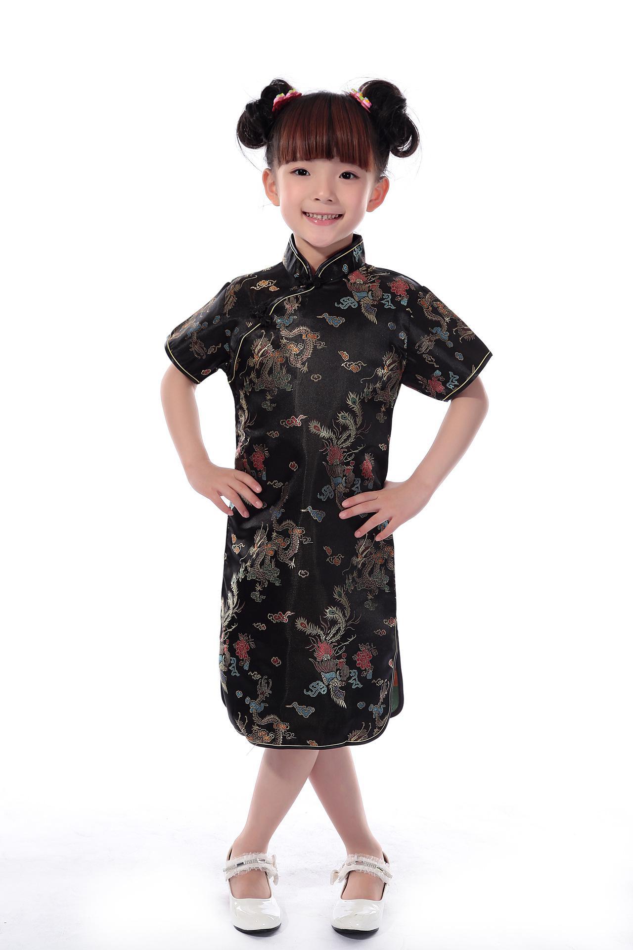 Shanghai Geschichte Faux Silk Stoffe 1-7 Jahre Kinder chinesisches traditionelles Baby Kleidung Drachen Phönix Tang-Anzug Cheongsam Stil Mädchen Kleid