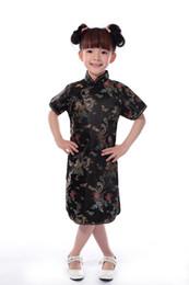 Xangai história faux tecidos de seda 1-7 anos crianças chinês tradicional bebê roupas dragão phoenix tang terno cheongsam estilo meninas vestido de