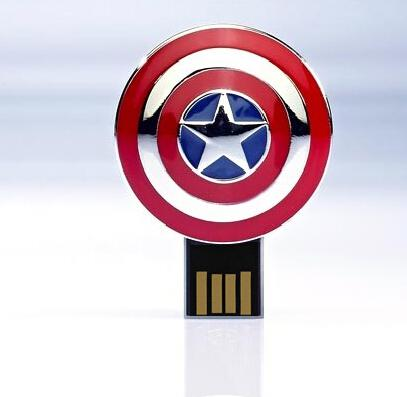 American Captain Shield USB Flash Drive real capacity 2GB 4GB 8GB 16GB USB 2.0 Memory Drive Stick Pen +retail package from cardmate