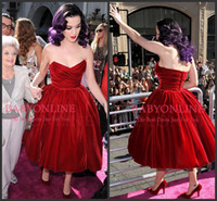 Wholesale Katy Perry Sexy Green - 2017 Hot Cheap Katy Perry Red Evening Celebrity Dress Sexy Strapless Backless Ruffles Vintage Short Ball Gown Tea Length Party Gowns BO5918