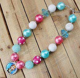 Wholesale Bottled Pearl Necklace - Fashion Hot 4 styles Chunky bubblegum kids Frozen Elsa Anna Olaf group Bottle cap pendant Necklace