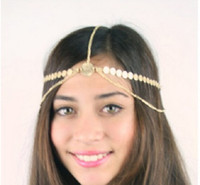 Wholesale Head Band Coin - Type-1 Women Gold Head Band Coin Metal Side Waves Chain Fashion Jewelry