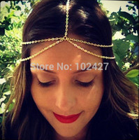 2014 New Fashion Gold Head Chain Pieces Femmes Boho Headpiece Headband Metal Chain Cheveux Head Wrap Jewelry