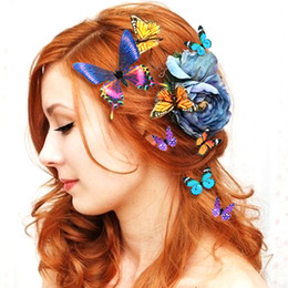 wedding crystal butterfly hair accessories Promo Codes - 14 PC Lot The Simulation Butterfly Hairpin Headdress Korean Wedding Wedding Dress Accessories Sea Beach Head Flower Hair Accessories