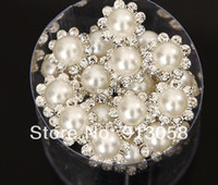 Wholesale Baby Bridal Jewelry - Silver Crystal Hair Pins Rhinestone Clips Baby White Pearl Hair Jewelry Accessories Bridal wedding jewelry 20pcs