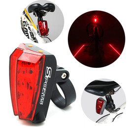 Wholesale New Bicycle Cycling Laser Tail - New Arrival 5 LEDs Bicycle Laser Tail Light Cycling Bike Rear Lamp with 2 Laser Beams Red Flash Safety Caution