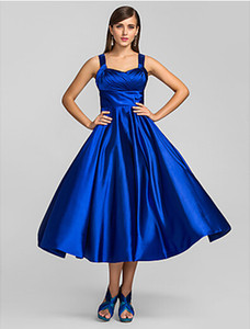 Wholesale 2019 New Tea Length Party Dresses A-Line Plus Size Spaghetti Straps Royal Blue Ruched Satin Cocktail Prom Gowns For Women Formal Occasion