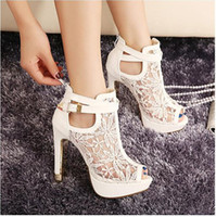 buy hot-hot - New Sexy White Black Lace Hollow Out Peep Toe Ankle Boots Buckle Metal Heels Breathable Chic Wedding Shoes Size EU 34 - 39