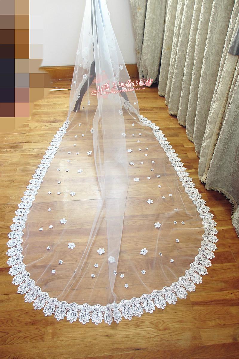 Bling Crystal Flower Long Bridal Veils 3m Wedding