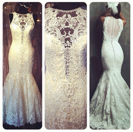 Wholesale Mermaid Cathedral Trumpet Beads Applique - New Arrival Mermaid Lace 2017 Wedding Dresses Princess Elegant Appliques Beaded Scoop Sheer Long Bridal Gowns W1270 Custom Made Real Image