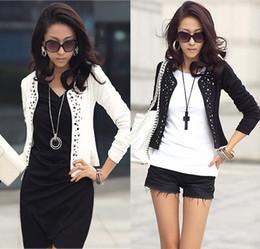 Wholesale Ladies Leisure Shorts - Cozy women clothes rivets Coat Comfortable leisure slim Wild suit Ms. jacket lady blazers black white