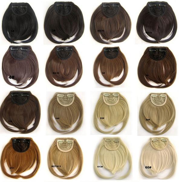 20 Farben erhältlich Pony Clip auf synthetisches Haar Bang B3 vorne ordentlich Hitzebeständigkeit Haar Fringe Frinde 30g, 1pc