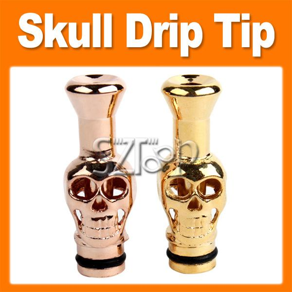 Metal Skull Mouthpiece Gold-plating Skull Drip Tip E-cigarette Atomizer Mouthpiece for Vivi Nova 510 DCT Cartomizers by DHL 0201010