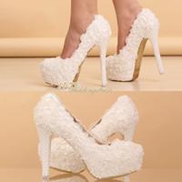 Wholesale Shoes 14cm - Hot Elegant Lace Wedding Shoes Bridesmaid Shoes 12cm 14cm High-Heel Shoe Beaded Pearl Bridal Accessories
