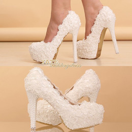 Wholesale 14cm Heels White - Hot Elegant Lace Wedding Shoes Bridesmaid Shoes 12cm 14cm High-Heel Shoe Beaded Pearl Bridal Accessories