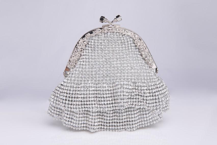 Silver Bridal Clutches With Rhinestones Vintage Wedding Clutches ...