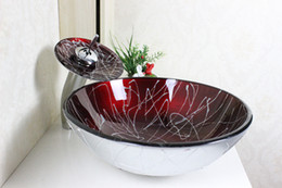 Wholesale Round Bowl Sink - Modern Bathroom Basin Hot Sale Glass Basin bathroom basin Wash Basin Glass Bowl Tempered Glass Vessel Sink With Faucet Set N-186