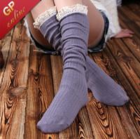 pamuk çizme bağcıkları toptan satış-Dantel Çizme Çorap Çift Silindir 80% Pamuk Aşağıda Diz Yüksek Çorap Kadın Dantel Frilly ile Boot Çorap için
