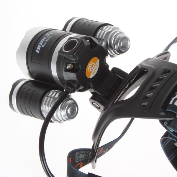 القابلة لإعادة الشحن 5000LM كري XM-L 3xT6 الصمام العلوي كشافات رئيس مصباح ضوء الشعلة 2 * 18650 بطارية شاحن AC